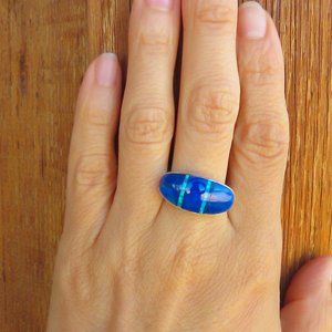 Sterling Silver Lapis Lab Opal Ring Size 7 1/2